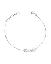 Srebrna bransoletka celebrytka ażurowe koło serce i kwiat pr.925