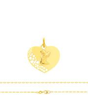 Komplet złoty - serce z Aniołkiem i łańcuszek splot fantazyjny - pr.585