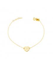 Złota bransoletka z ażurowym sercem pr. 333