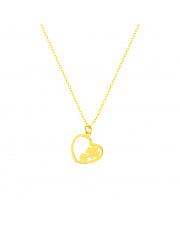 Łańcuszek złoty celebrytka z sercem i koniczynkami pr.585