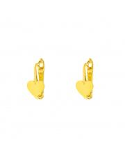Złote kolczyki z sercem na angielskim zapięciu pr. 585