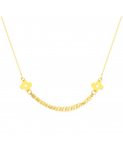 Złoty łańcuszek celebrytka z kwiatkami pr. 585