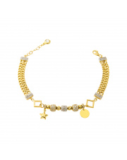 Złota bransoletka A'la Pandora pr. 585
