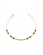 Złota bransoletka z czarnymi kulkami - pr.585