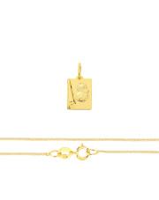 Komplet złoty - medalik z Matką Boską na papirusie i łańcuszek splot lisi ogon pr.333