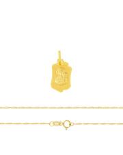 Komplet złoty - medalik z Matką Boską i łańcuszek splot singapur pr.333