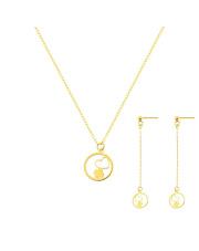 Komplet złoty - Celebrytka i kolczyki z motywem serca pr.585