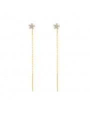Pozłacane kolczyki z kwiatkiem i pałeczką - pr. 925
