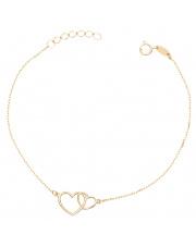 Złota bransoletka celabrytka  z sercami - pr. 333