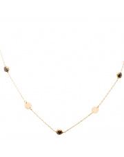 Łańcuszek złoty celebrytka kółka i czarne kamienie - pr.585