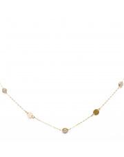 Łańcuszek złoty celebrytka kółka i białe kamienie - pr.585