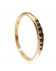 Złoty pierścionek z czarnymi cyrkoniami - pr.585