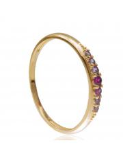 Złoty pierścionek z różowymi cyrkoniami - pr.585