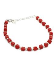 Srebrna bransoletka celebrytka z czerwonymi kamieniami pr.925