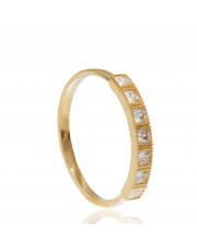 Złoty pierścionek z kwadratowymi kamieniami - pr.585