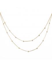 Złoty podwójny łańcuszek - diamentowane kulki - pr. 585