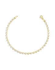 Złota bransoletka splot serca 18 cm - pr. 585