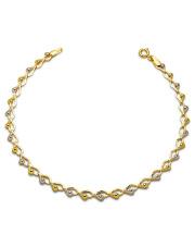 Złota bransoletka splot z serduszek 17cm - pr.585