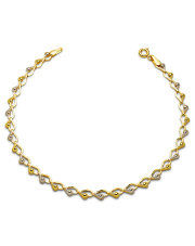 Złota bransoletka splot z serduszek 19cm- pr.585