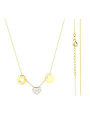 Złoty naszyjnik celebrytka z kółkami i sercem- pr. 585
