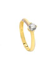 -20% Złoty pierścionek zaręczynowy z cyrkoniami - pr. 585