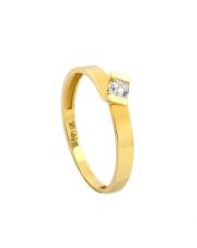 -15% Złoty pierścionek zaręczynowy z cyrkonią - pr. 585
