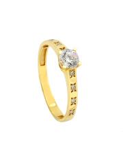 -15% Złoty pierścionek zaręczynowy z cyrkoniami - pr. 585