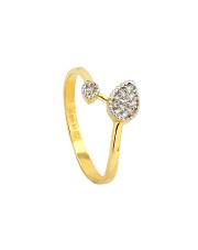 Złoty pierścionek  z listkiem - pr. 585