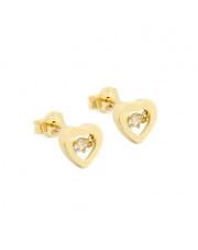 Złote kolczyki serce z cyrkonią - pr.585
