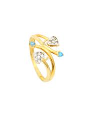 Złoty pierścionek  z sercami - pr. 585