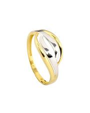 Złoty pierścionek ze wstawką białego złota - pr. 585