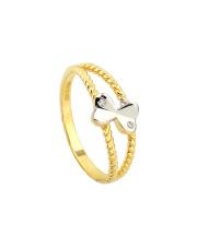Złoty pierścionek  z motylem - pr. 585