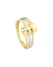 Złoty pierścionek z białym złotem - pr. 585