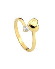 Złoty pierścionek  z sercem - pr. 585