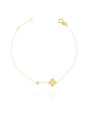 Złota bransoletka celabrytka  z kwiatkiem - pr. 585