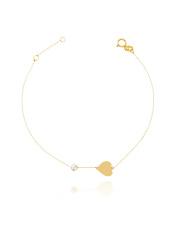 Złota bransoletka celebrytka z sercem - pr. 585