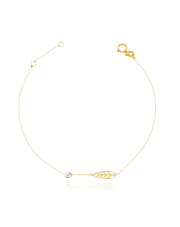-15% Złota bransoletka celabrytka  z listkiem - pr. 585