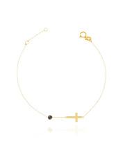 Złota bransoletka celabrytka  z krzyżykiem - pr. 585