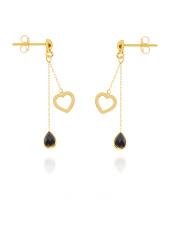 Złote kolczyki z sercem i czarną cyrkonią - pr. 585