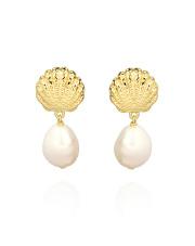 Pozłacane kolczyki w kształcie muszli z perłą - pr. 925