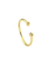 Pozłacany pierścionek z dwoma cyrkoniami - pr. 925