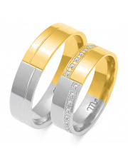 Złote obrączki z cyrkoniami, soczewka- pr.585