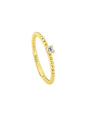 Pozłacany pierścionek z cyrkonią - pr. 925