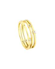 Pozłacany pierścionek z cyrkoniami - pr. 925