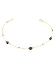Złota bransoletka z czarnymi kamienieniami - pr. 585