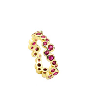 Pozłacany pierścionek z kolorowymi kamieniami - pr. 925