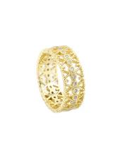 Pozłacany pierścionek obrączka z cyrkoniami - pr. 925