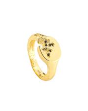 Pozłacany pierścionek sygnet - pr. 925