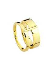 Pozłacany pierścionek podwójna obrączka - pr. 925
