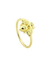Pozłacany pierścionek z muchą - pr. 925